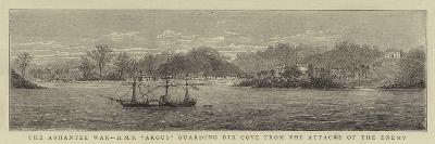 The Ashantee War, HMS Argus Guarding Dix Cove from the Attacks of the Enemy--Giclee Print
