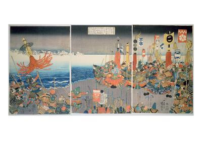 The Ashikaga Fleet Sailing into Attack Nitta, C.1840, (Colour Woodblock Print)-Kuniyoshi Utagawa-Giclee Print
