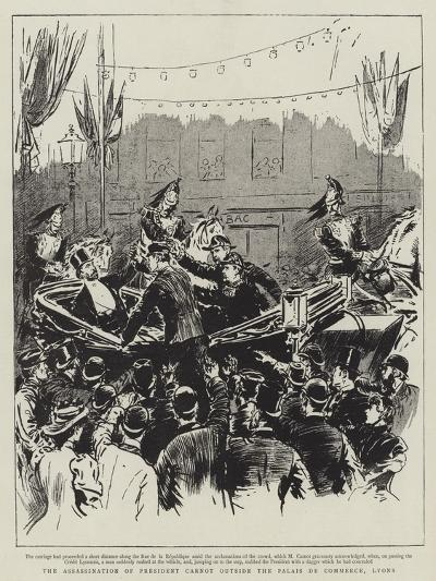 The Assassination of President Carnot Outside the Palais De Commerce, Lyons--Giclee Print