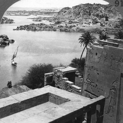 The Aswan Dam as Seen from the Philae Temple, Egypt, 1905-Underwood & Underwood-Photographic Print