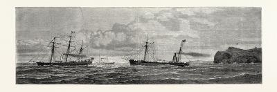 The Atlantic Telegraph: Paying Out the Shore End of the Cable from the Caroline Off Valencia--Giclee Print