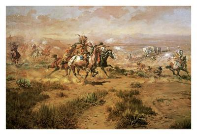 The Attack On The Wagon Train-Charles Marion Russell-Art Print