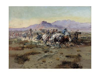 The Attack-Charles Marion Russell-Giclee Print