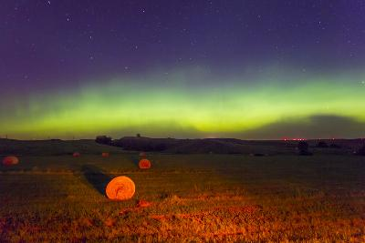 The Aurora Borealis or Northern Lights over Agricultural Land-Mike Theiss-Photographic Print