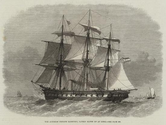 The Austrian Frigate Radetzky, Lately Blown Up at Lissa-Edwin Weedon-Giclee Print