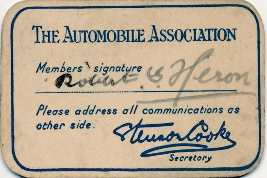 'The Automobile Association: Membership card', 1936-Unknown-Giclee Print