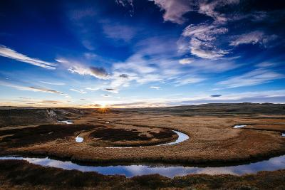 The Autumn Sun Sets Over The Water Lines Of The Hayden Valley In Yellowstone National Park-Jay Goodrich-Photographic Print