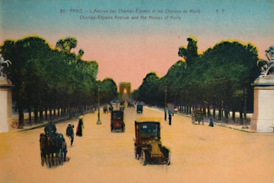 The Avenue des Champs-Elysées and the Marly Horses, Paris, c1920-Unknown-Giclee Print