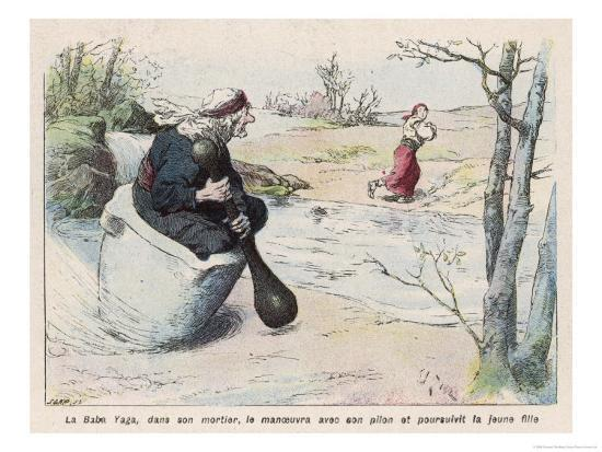 The Baba Yaga Chases the Girl in a Pestle-Edouard Zier-Giclee Print