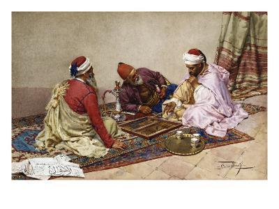 The Backgammon Players-Giulio Rosati-Giclee Print