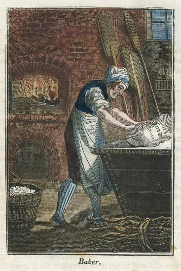 The Baker Kneading Dough on the Lid of a Flour Bin, 1823--Giclee Print