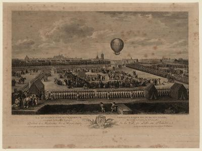 The Balloon of Jean-Pierre Blanchard Ascending from Lille on August 26, 1785-Louis Watteau-Giclee Print