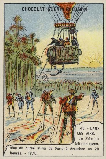 The Balloon Zenith Making a Flight Lasting 23 Hours from Paris to Arcachon, 1875--Giclee Print