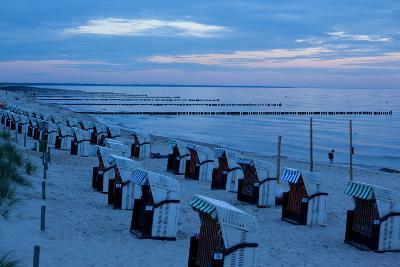 The Baltic Sea, Dar§, Wustrow, Evening Mood, Beach Chairs-Catharina Lux-Photographic Print