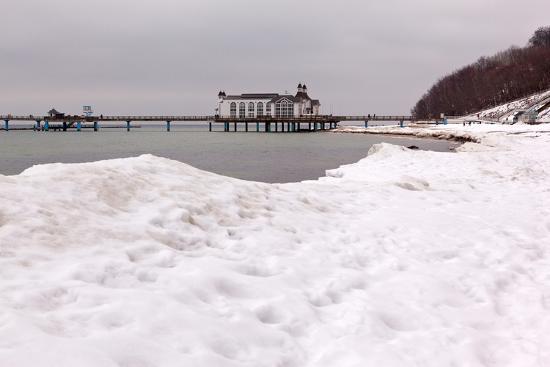 The Baltic Sea, RŸgen, Sellin Pier, Snow-Catharina Lux-Photographic Print
