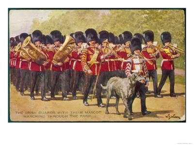 The Band of the Irish Guards March with Their Regimental Mascot an Irish Wolfhound of Course--Giclee Print