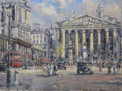 The Bank Crossing, the Royal Exchange and the Bank of England C.1930-John Sutton-Giclee Print