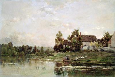 The Banks of the Seine at Portejoie, 1871-Charles Francois Daubigny-Giclee Print