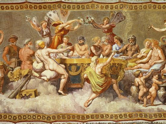 The Banquet of the Gods, Ceiling Painting of the Courtship and Marriage of Cupid and Psyche-Raphael-Giclee Print