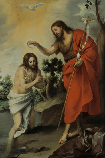 The Baptism of Christ, 1655-Bartolom? Esteb?n Murillo-Giclee Print