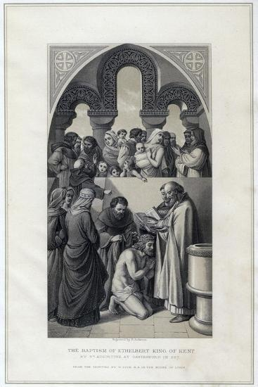 The Baptism of Ethelbert King of Kent, by St Augustine, Canterbury in 597-R Anderson-Giclee Print