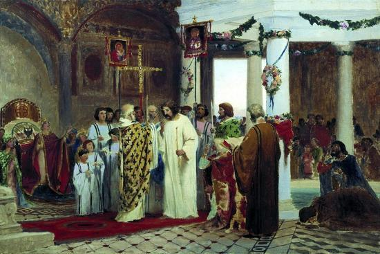 The Baptism of Grand Prince of Kiev Vladimir the Great in 987, 1883-Feodor Andreyevich Bronnikov-Giclee Print