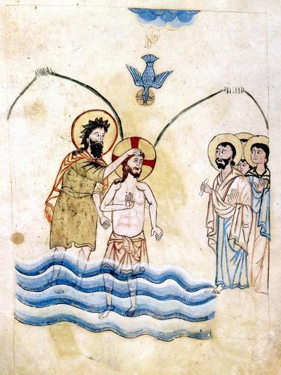 The Baptism of Jesus by St John the Baptist, C1334-Vardan Lorets'i-Giclee Print