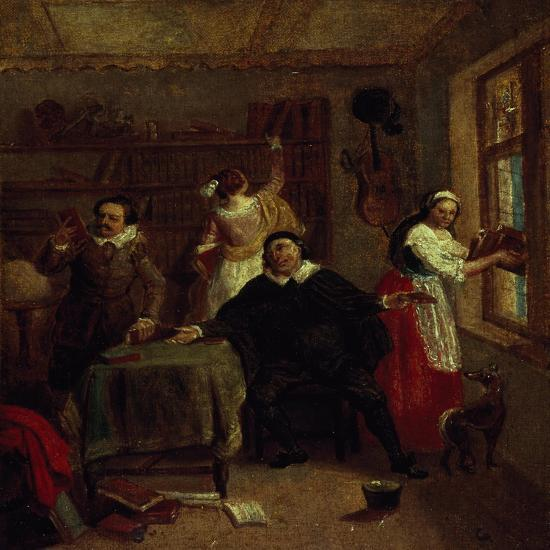 The Barber, Don Quixote's Niece, Priest and Housekeeper Purging Don Quixote's Library, Painting-John Michael Wright-Giclee Print