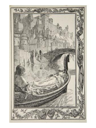 The Barge floated down the River, illustration from 'Stories of King Arthur and the Round Table'-Dora Curtis-Giclee Print