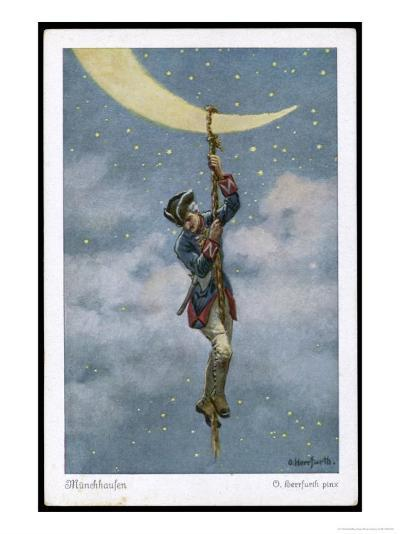 The Baron Climbs to the Moon-O. Herrfurth-Giclee Print