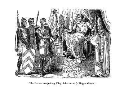The Barons Compelling King John (1167-121) to Ratify the Magna Carta, 1215--Giclee Print