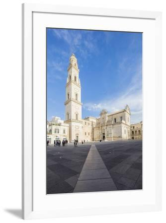 The Baroque style of the ancient Lecce Cathedral in the old town, Lecce, Apulia, Italy, Europe-Roberto Moiola-Framed Photographic Print