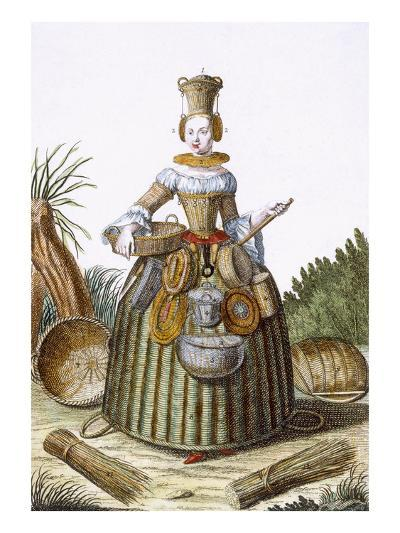 The Basket Weaver's Costume (Coloured Engraving)-Martin Engelbrecht-Giclee Print