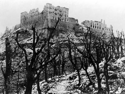 The Battle of Cassino: The Abbey of Monte Cassino Reduced to Rubble Following the Heavy Allied…--Photographic Print
