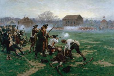 The Battle of Lexington, 19th April 1775, 1910-William Barnes Wollen-Giclee Print