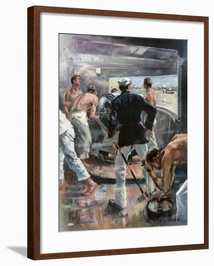 The Battle of Manila Bay. - Fighting a Six-Inch Gun on Board the Olympia-Frederick Coffay Yohn-Framed Giclee Print
