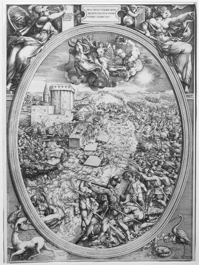 The Battle of Muehlberg, 24 April 1547, 1551-Enea Vico-Giclee Print