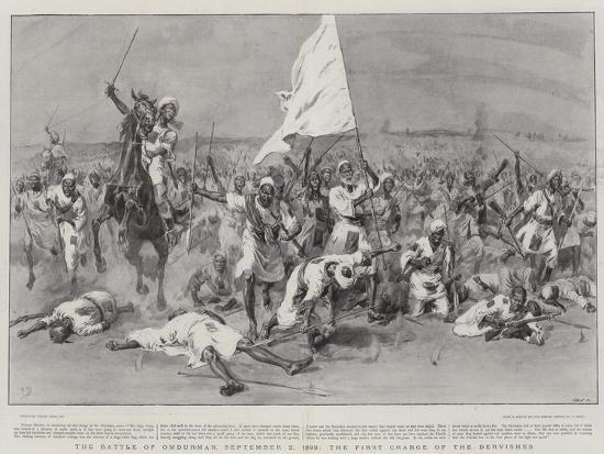 The Battle of Omdurman, 2 September 1898, the First Charge of the Dervishes-Frank Dadd-Giclee Print