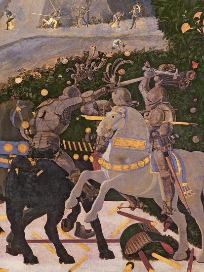The Battle of San Romano, Detail of Two Cavalrymen Engaged in Combat, circa 1450-60-Paolo Uccello-Giclee Print