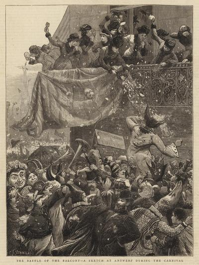 The Battle of the Balcony, a Sketch at Antwerp During the Carnival-Charles Joseph Staniland-Giclee Print