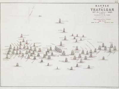 The Battle of Trafalgar, 21st October 1805, Positions in the Battle, circa 1830s-Alexander Keith Johnston-Giclee Print