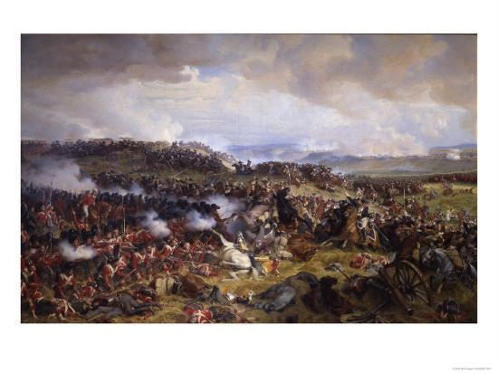 The Battle of Waterloo: British Squares Receiving the Charge of the French Cuirassiers-Felix Philippoteaux-Giclee Print
