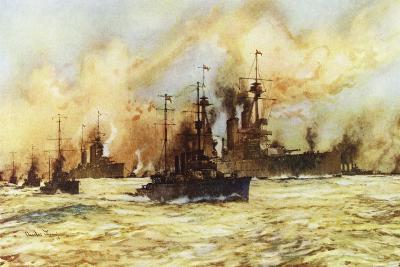 The Battlecruiser Indomitable Towing the Wounded Battlecruiser Lion after the Battle of Dogger Bank-Charles Edward Dixon-Giclee Print