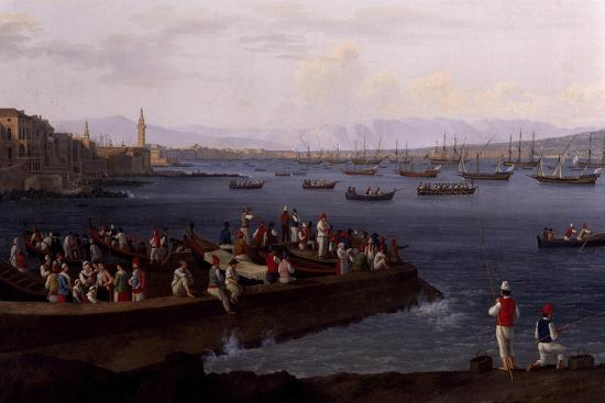 The Bay of Naples Near Santa Lucia Showing the Naval Fleets Returning from Algiers-Jacob Philipp Hackert-Giclee Print