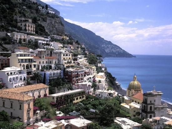 The Beach and City of Positino on the Amalfi Coast in Italy-Richard Nowitz-Photographic Print