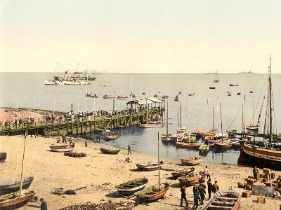 The Beach and Pier, Helgoland, Germany, Pub. C.1895--Photographic Print