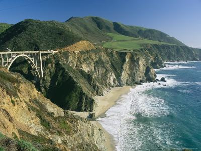 The Beach and Shoreline Along Highway 1 Near Bixby Bridge-Phil Schermeister-Photographic Print