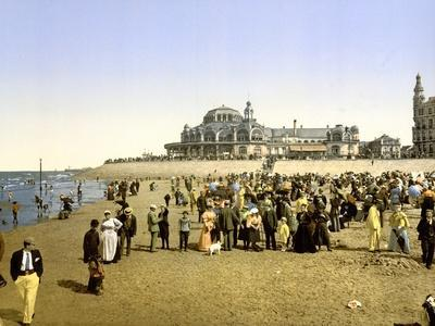 The Beach at Ostend with the Kursaal in the Background, Pub. C.1895--Photographic Print
