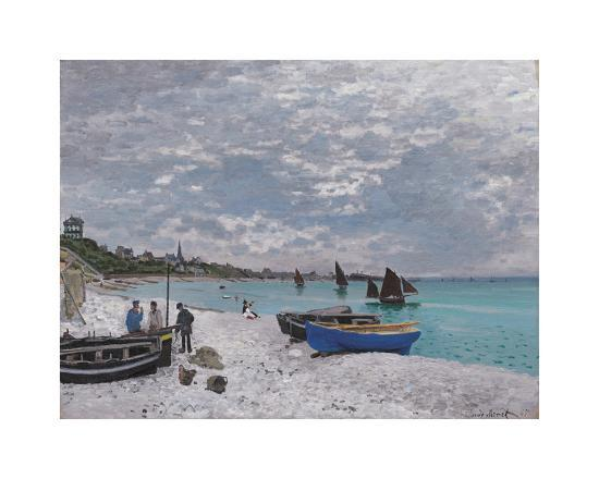 The Beach at Sainte-Adresse, 1867-Claude Monet-Premium Giclee Print