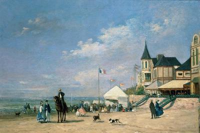The Beach at Trouville, 1863-Eug?ne Boudin-Giclee Print